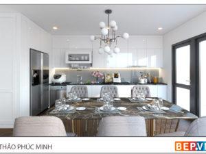 Thiết kế tủ bếp chữ i đẹp hiện đại gia đình chị Thảo - phố Phúc Minh