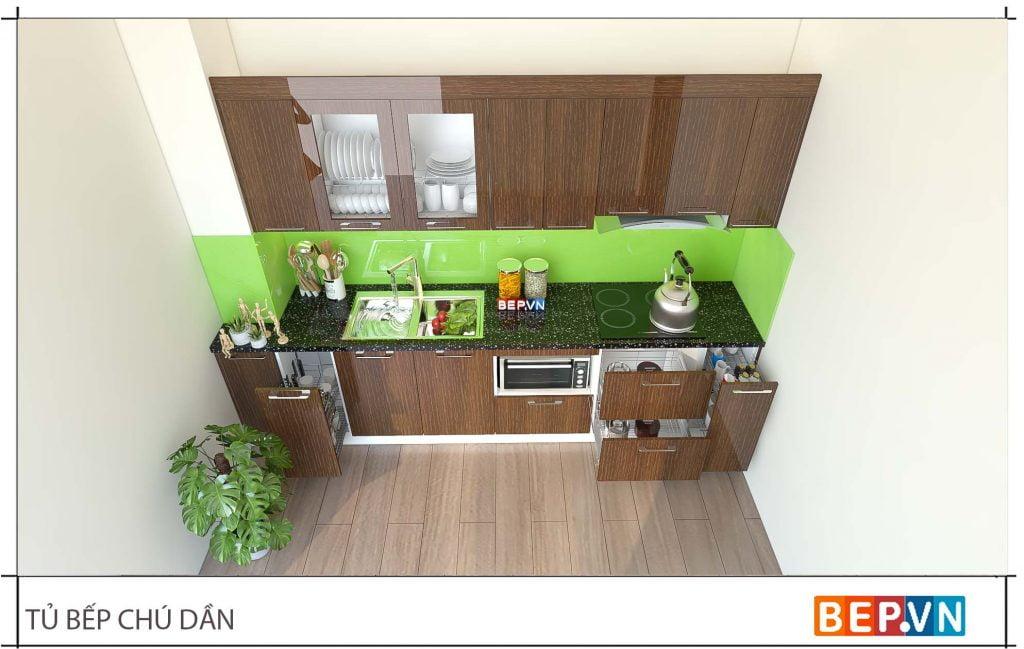 thiết kế tủ bếp chữ i đẹp hiện đại