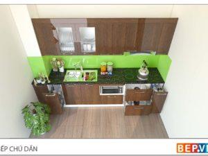Thiết kế tủ bếp chữ i đẹp hiện nhà chú Dần - Giáp Bát