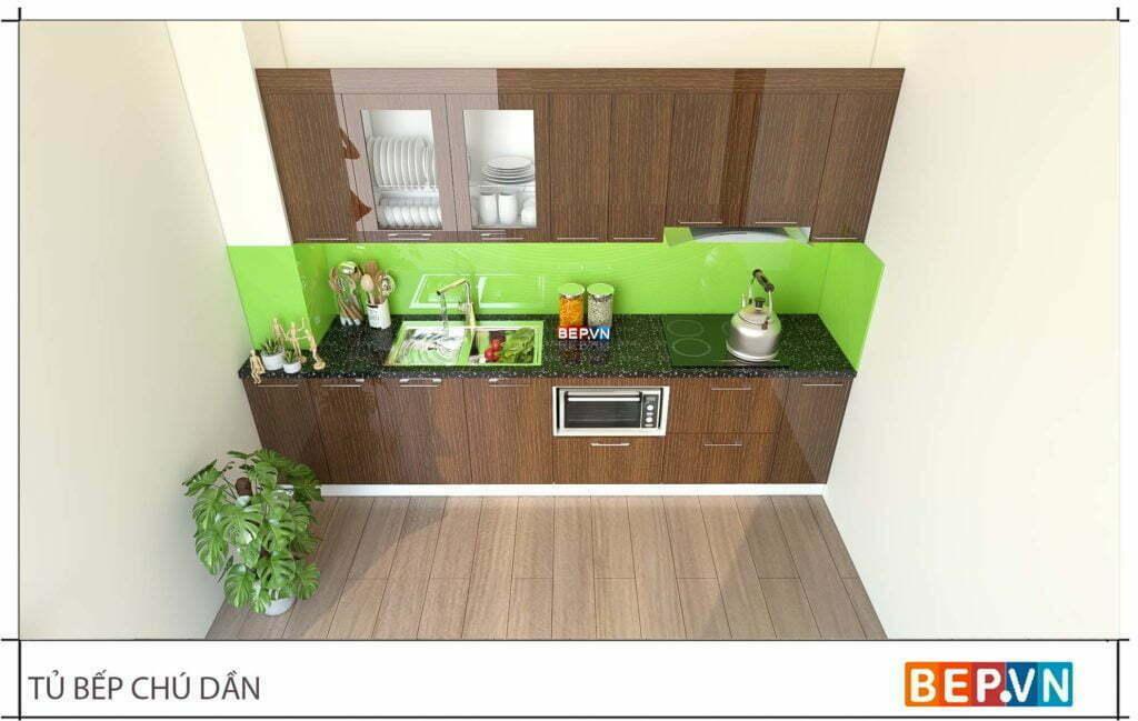 thiết kế tủ bếp chữ i đẹp hiện đại gia đình chú Dần 1
