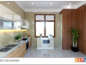 Tủ bếp chữ i đẹp, tiện nghi gia đình chú Khanh - Văn Cao