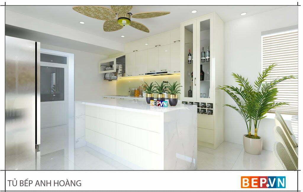 Thiết kế tủ bếp chữ i hiện đại gia đình anh Hoàng