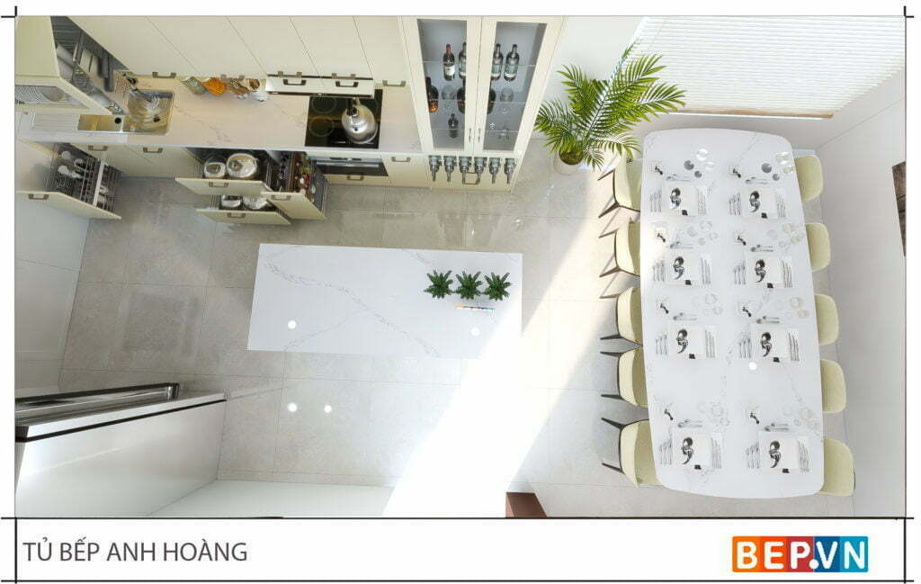 thiết kế tủ bếp chữ i hiện đại gia đình anh Hoàng 3