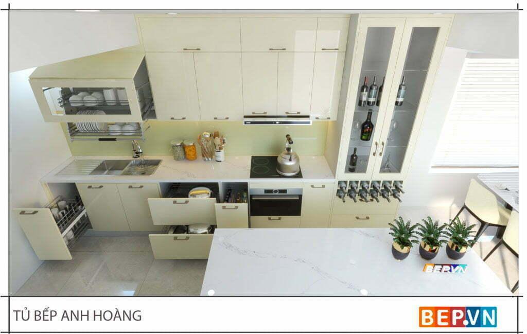 thiết kế tủ bếp hiện đại gia đinh anh Hoàng 4