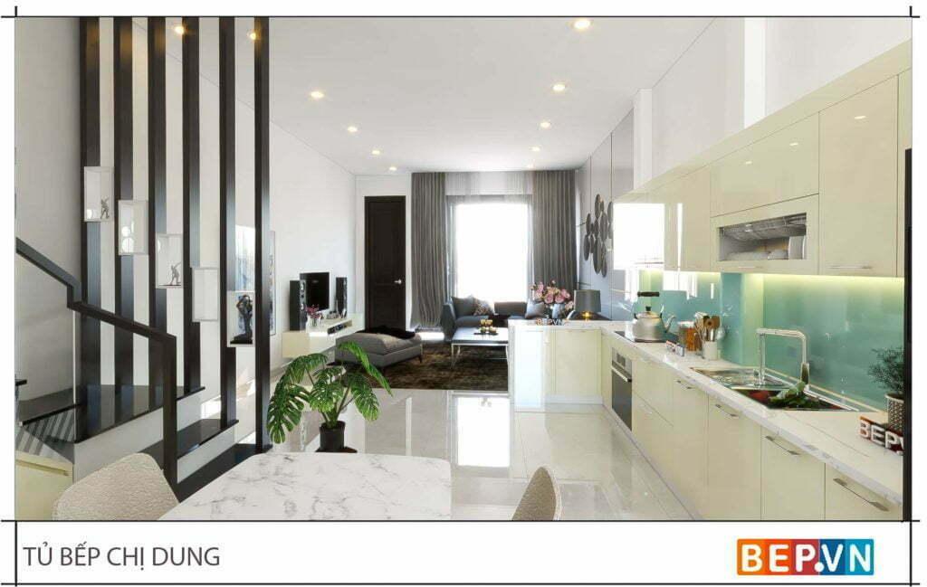 Thiết kế tủ bếp chữ L đẹp hiện đại gia đình chị Dung 2