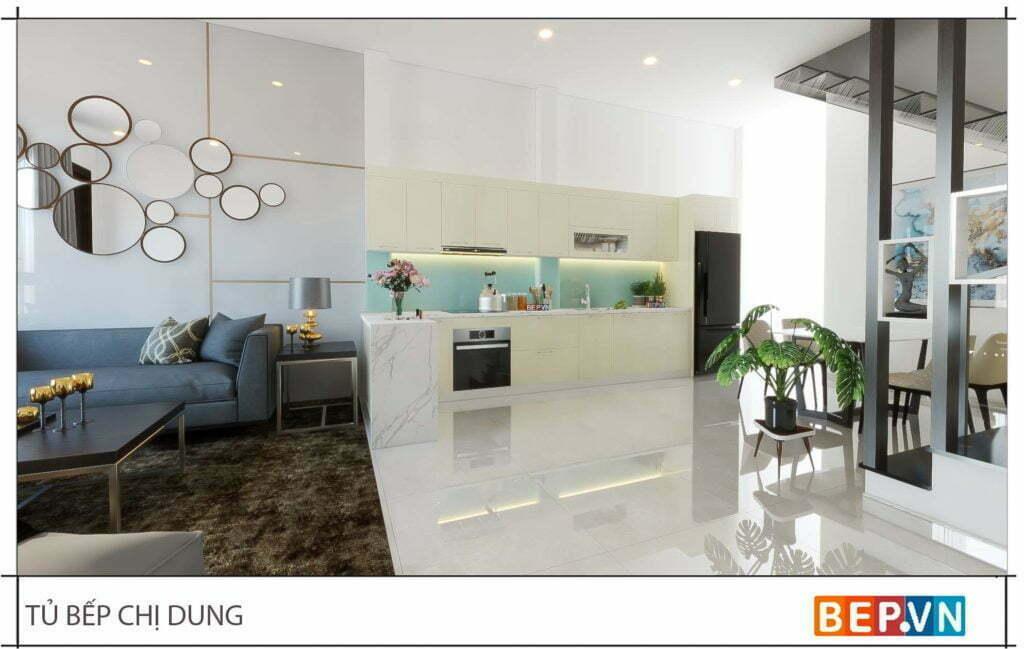 Thiết kế tủ bếp chữ L đẹp hiện đại gia đình chị Dung 1