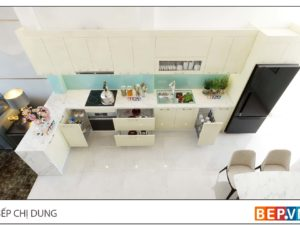Thiết kế tủ bếp chữ L đẹp hiện đại gia đình chị Dung 3