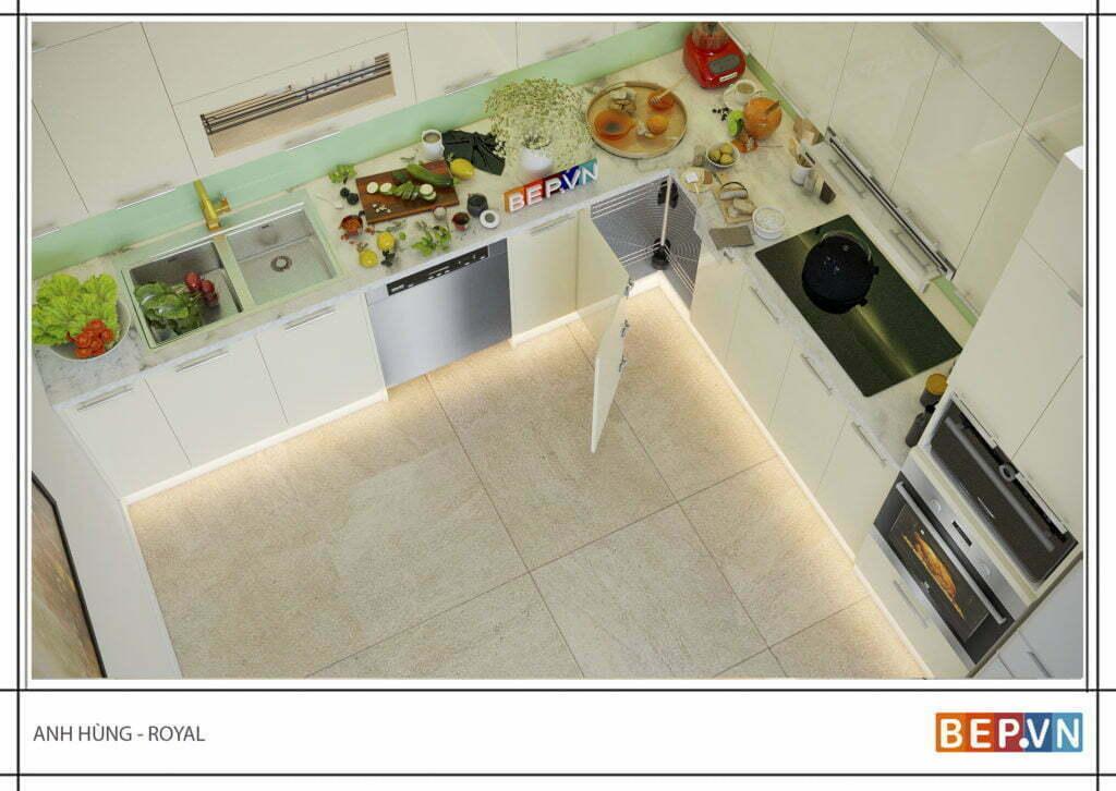 thiết kế tủ bếp chữ L hiện đại gia đình anh Hùng