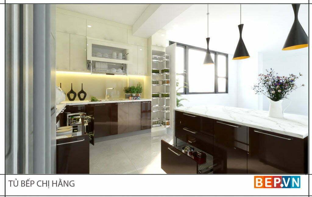 thiết kế tủ bếp đẹp hiện đại gia đình chị Hằng