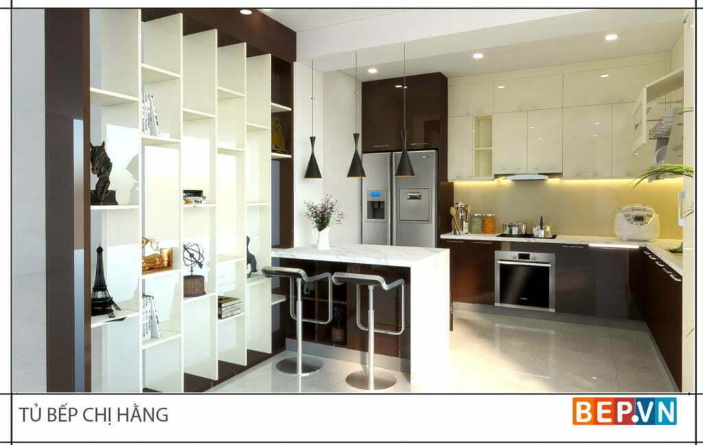thiết kế tủ bếp đẹp hiện đại gia đình chị Hằng 2