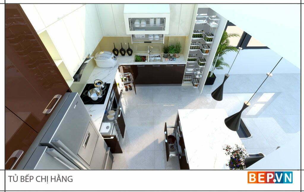Thiết kế tủ bếp đẹp hiện đại sang trọng nhà chị Hằng