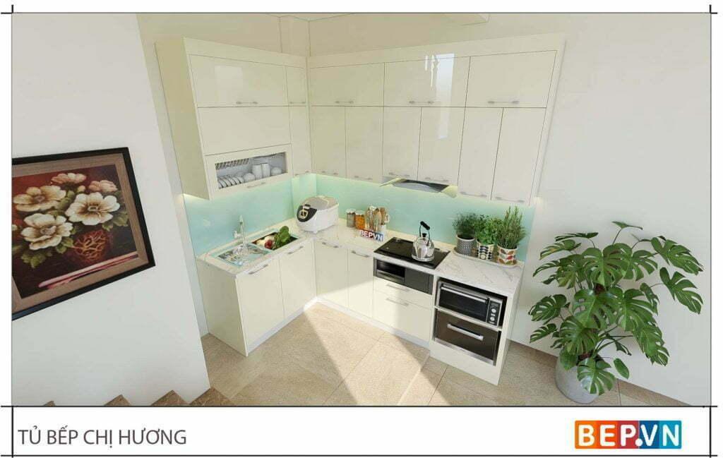 thiết kế tủ bếp chữ L đẹp hiện đại gia đình chị Hương 2