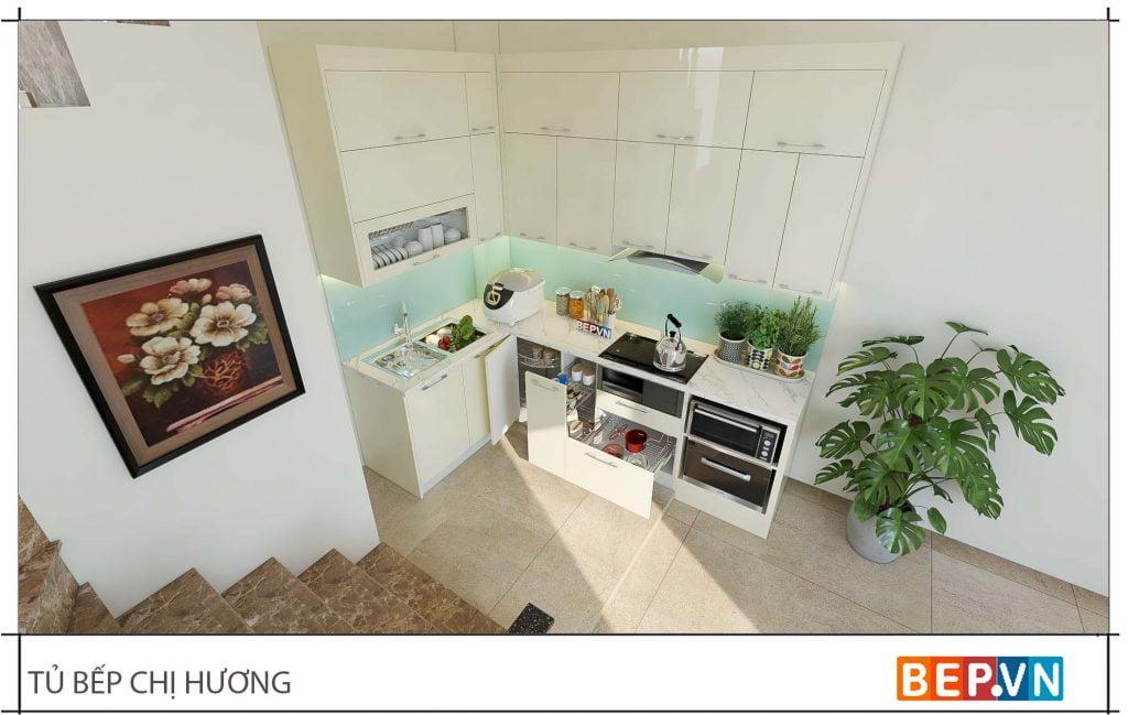 thiết kế tủ bếp chữ L đẹp hiện đại gia đình chị Hương