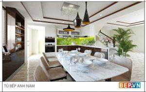 thiết kế tủ bếp hiện đại gia đình anh Nam
