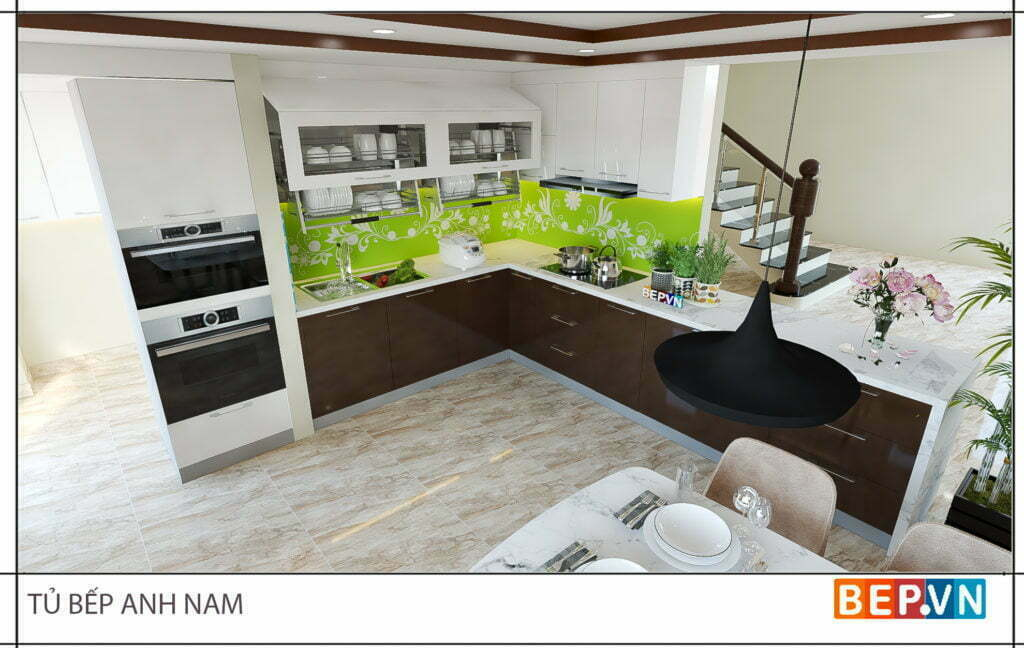 Thiết kế tủ bếp chữ l đẹp hiện đại gia đình anh Nam 2
