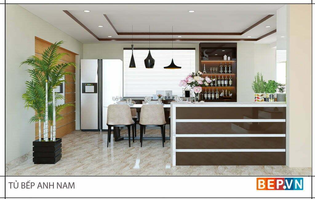 thiết kế tủ bếp chữ L hiện đại gia đình anh Nam