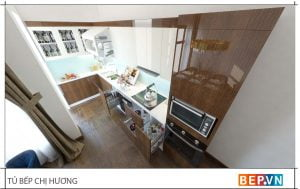 thiết kế tủ bếp chữ l đẹp hiện đại gia đình chị Hương 1