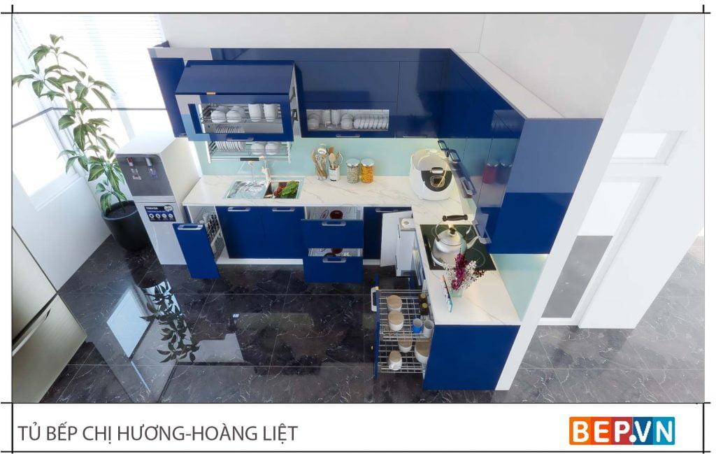 Thiết kế tủ bếp chữ L đẹp hiện đại gia đình chị Hương3