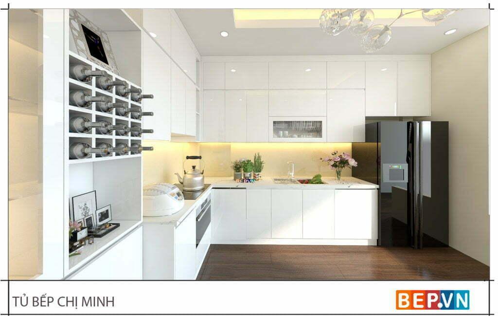 Thiết kế tủ bếp chữ L hiện đại gia đình chị Minh 2