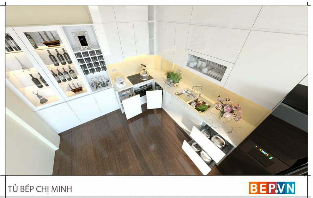 thiết kế tủ bếp chữ L hiện đại gia đình chị Minh 3