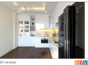 thiết kế tủ bếp chữ L hiện đại gia đình chị Minh 1