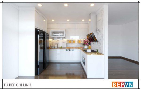 thiết kế tủ bếp đẹp hiện đại gia đình chị Linh - Skylake