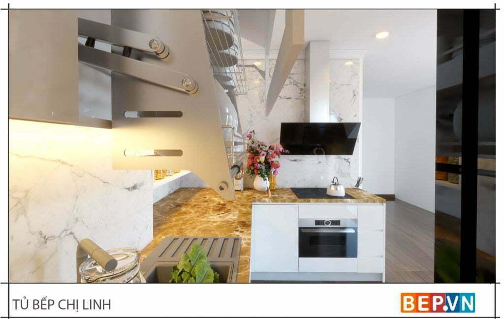 thiết kế tủ bếp đẹp hiện đại gia đình chị Linh 2