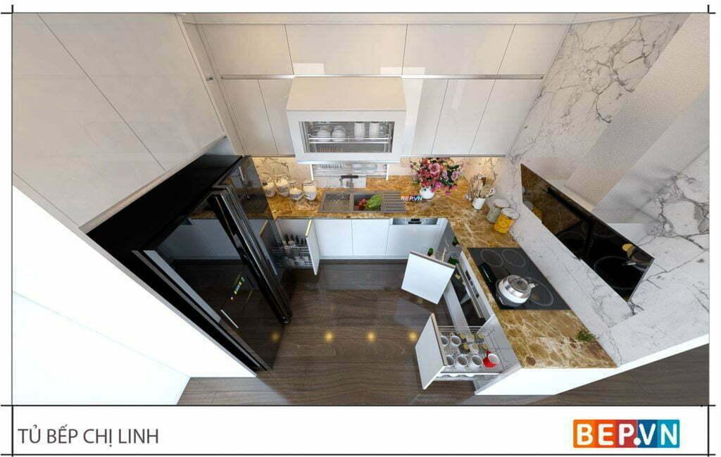 thiết kế tủ bếp đẹp hiện đại gia đình chị Linh