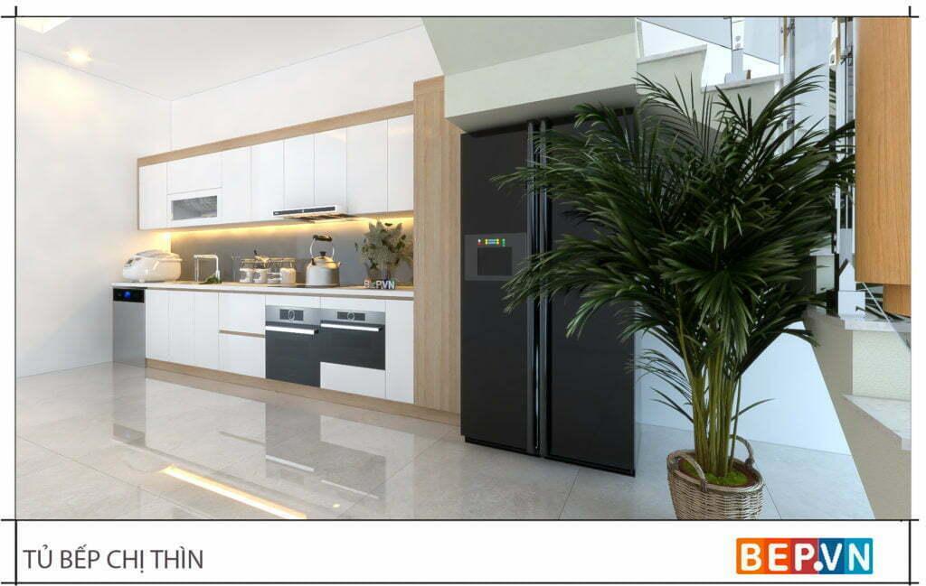thiết kế tủ bếp chữ i đẹp hiện đại gia đình chị Thìn 2