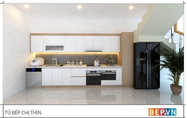 thiết kế tủ bếp chữ i đẹp hiện đại gia đình chị Thìn 1