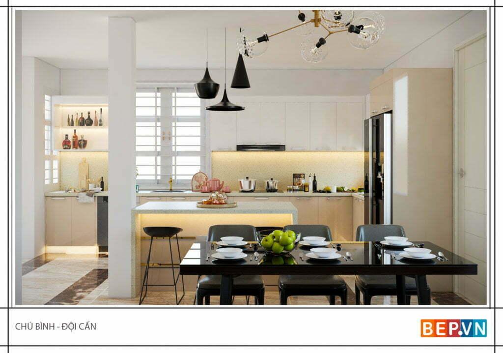 Đảo bếp có thể được thiết kế làm bàn ăn nhỏ cho gia đình