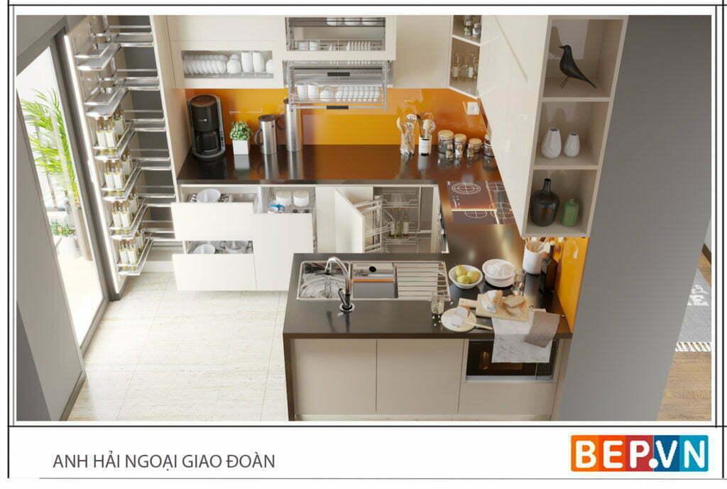 Tủ bếp chữ U đẹp cho diện tích phòng bếp trung và lớn