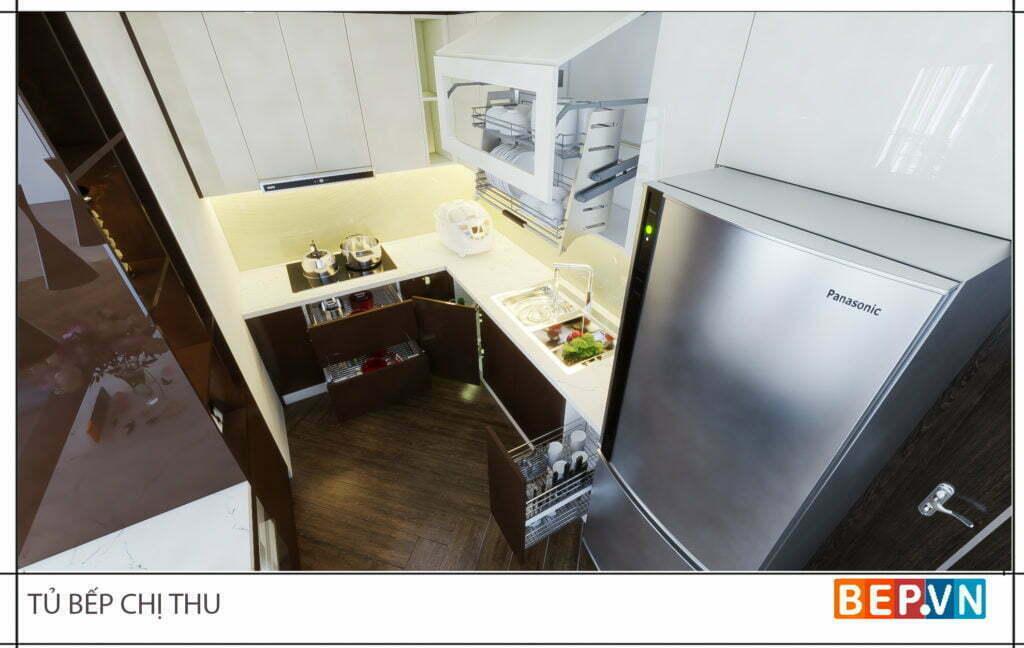 thiết kế tủ bếp hiện đại, tiện nghi nhà chị Thu