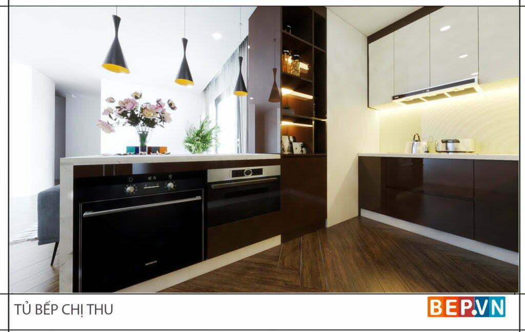 thiết kế tủ bếp hiện đại, tiện nghi gia đình chị Thu 5