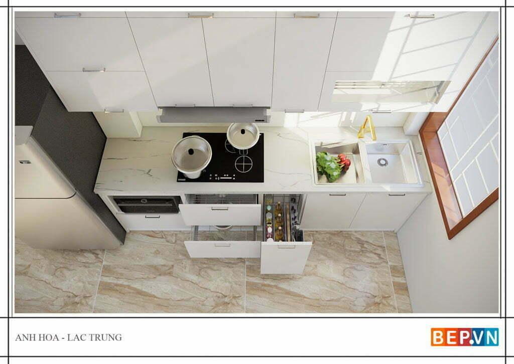 thiết kế tủ bếp đẹp hiện đại cho phòng bếp nhỏ hẹp
