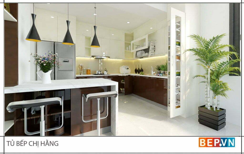 Tủ bếp Acrylic kết hợp đảo bếp hiện đại gia đình chị Hằng
