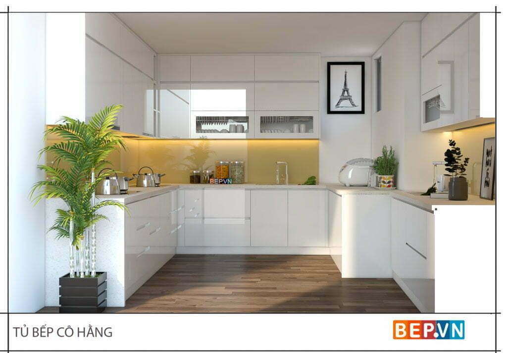 Tủ bếp Acrylic đẹp hiện đại và tinh tế với gam màu trắng thanh lịch