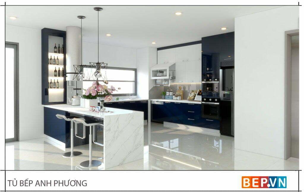 Lựa chọn kết hợp hai gam màu sắc độc đáo cho phòng bếp gia đình anh Phương