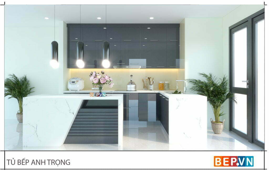 Thiết kế tủ bếp acrylic chữ L gia đình anh Trọng