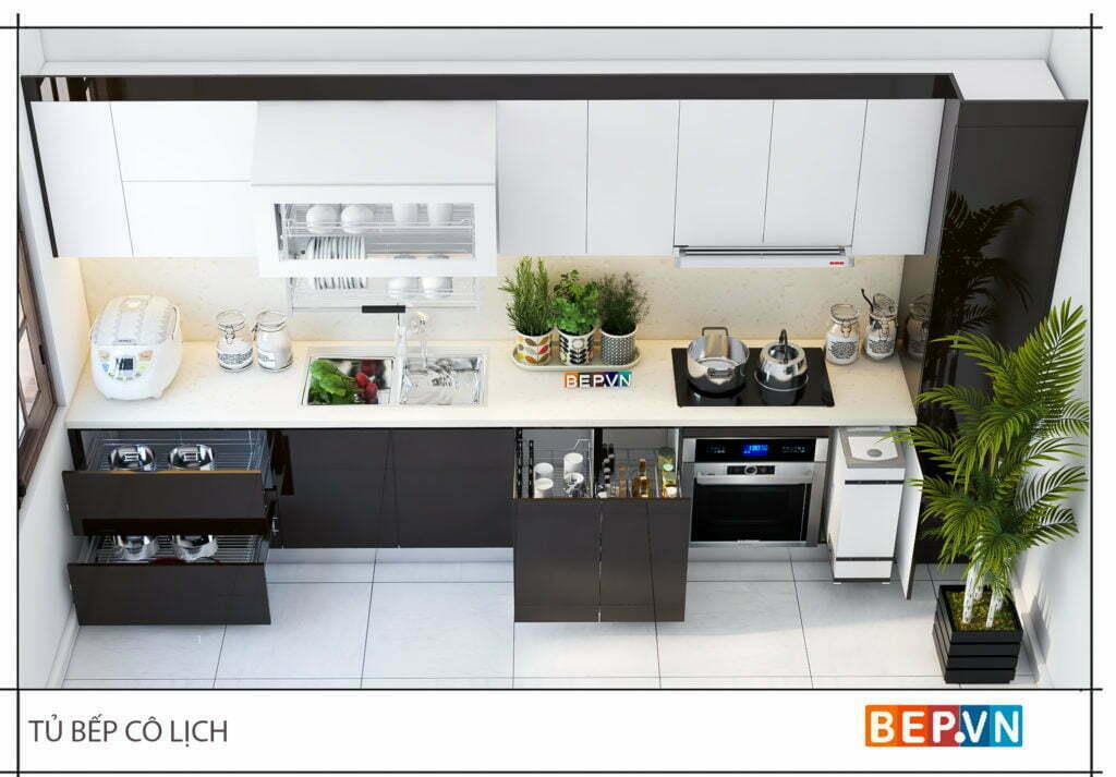 Tủ bếp thẳng phù hợp cho mọi diện tích không gian phòng bếp