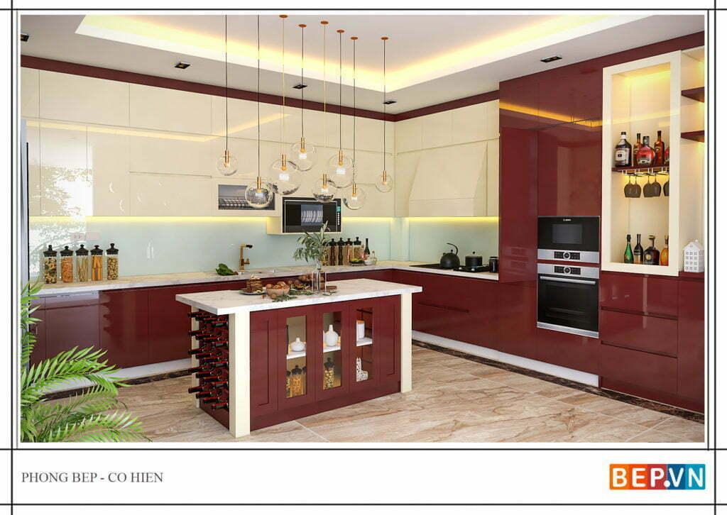 Tủ bếp hiện đại cho gia chủ mẹnh Hỏa