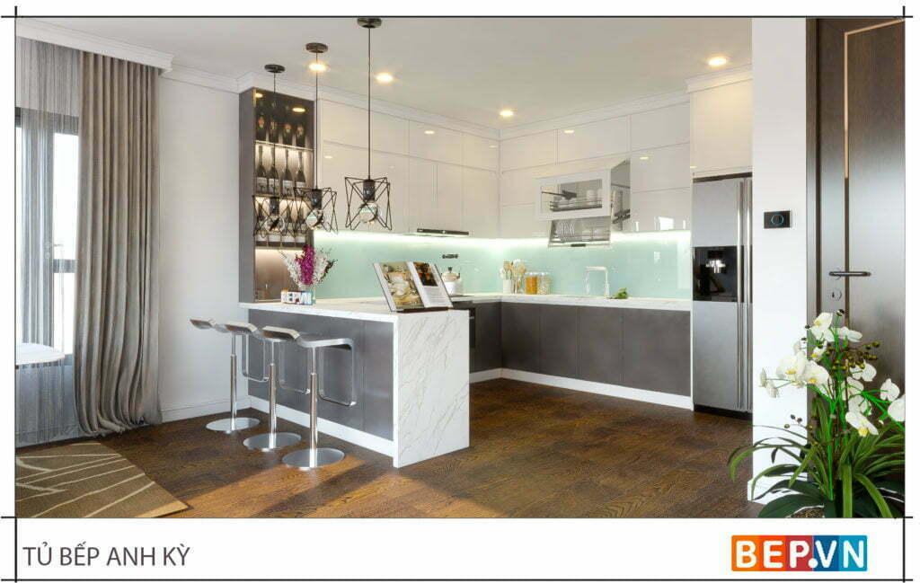 Tủ bếp có kết hợp bàn đảo và tủ rượu trang trí hiện đại