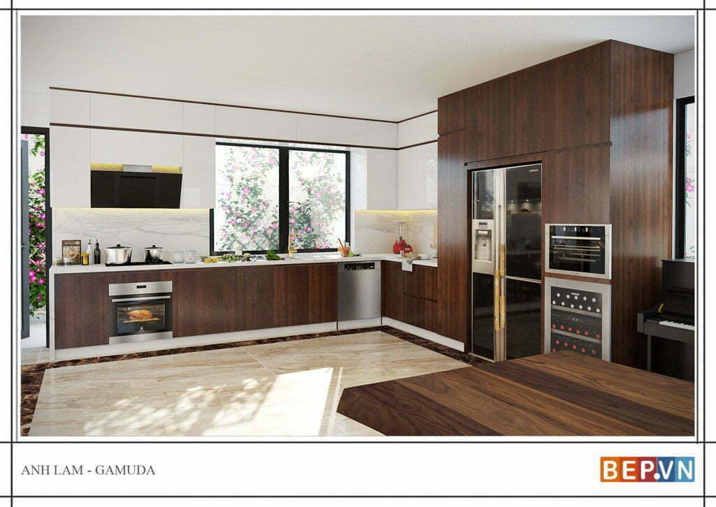 Tủ bếp mộc mạc khi kết hợp giữa màu vân gỗ và gam màu sáng