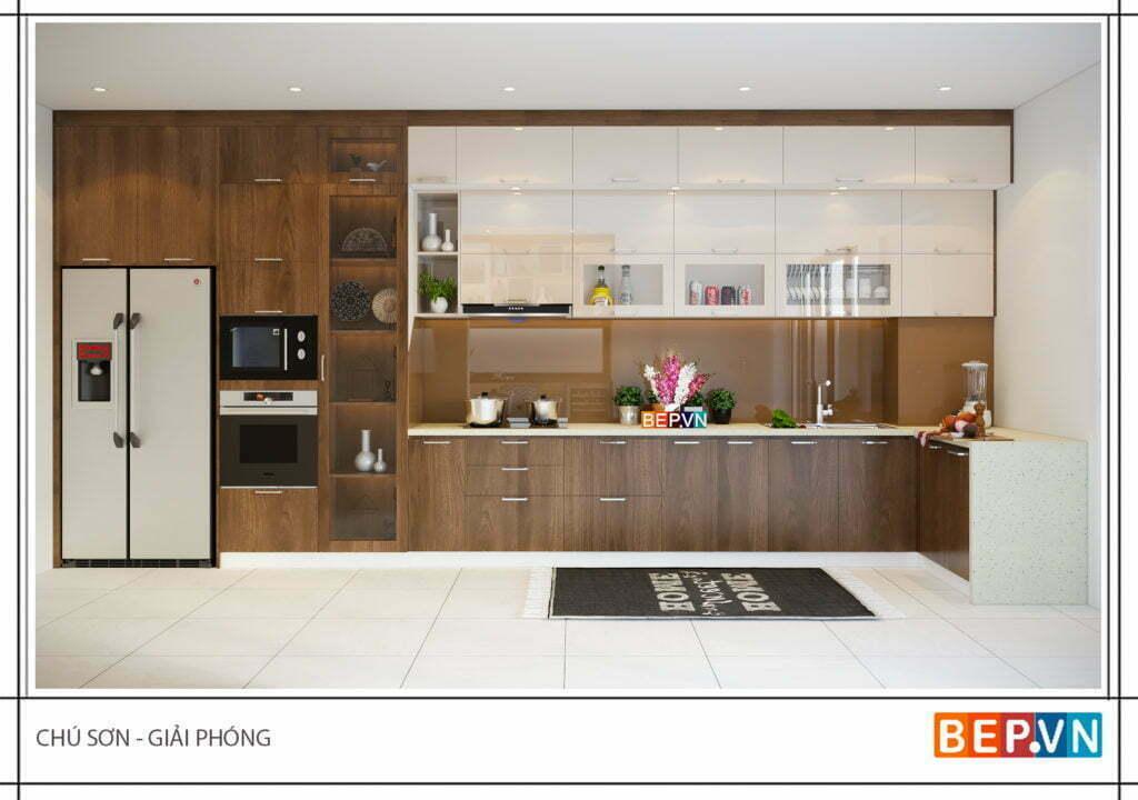 thiết kế tủ bếp đẹp nhà chú Sơn - Giải Phóng