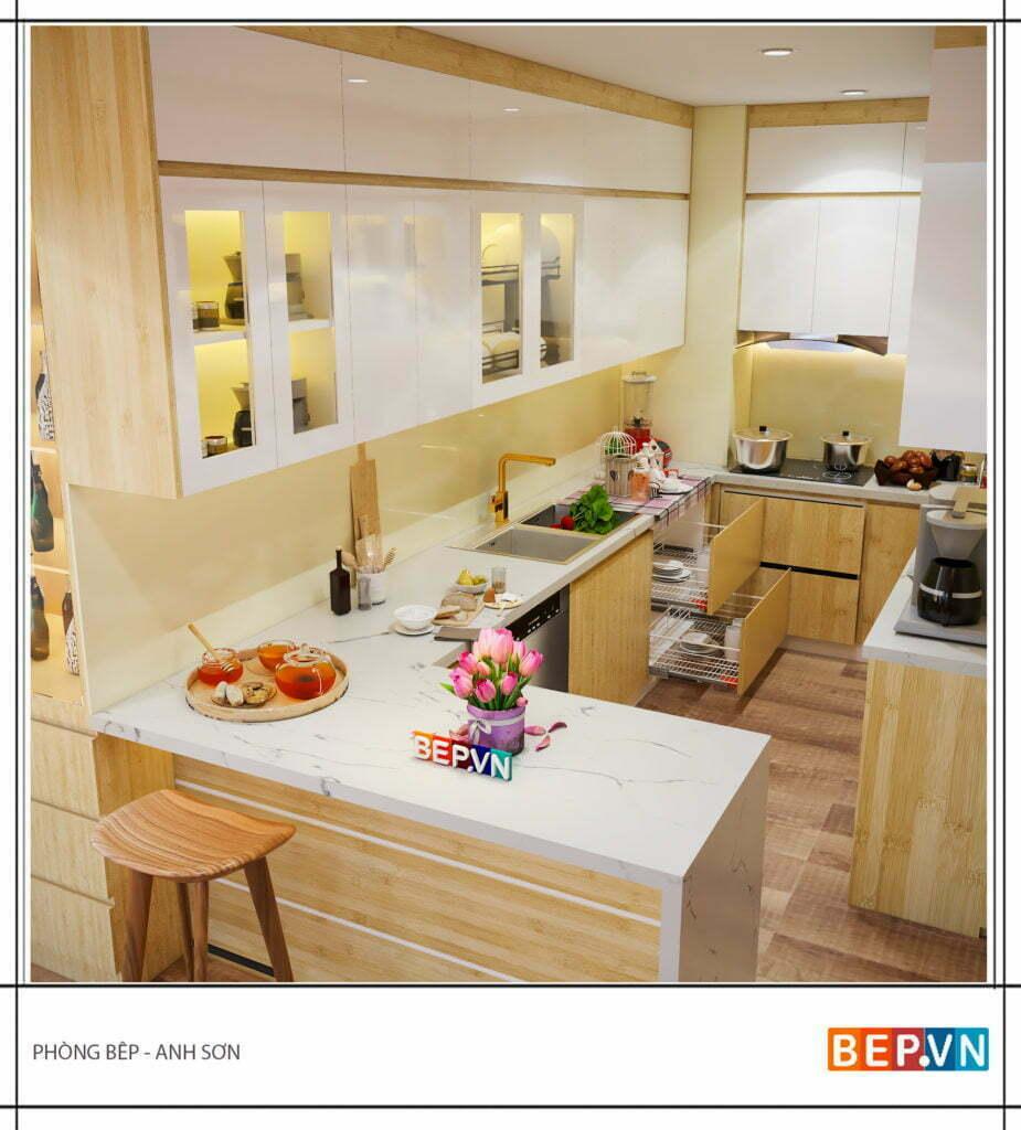 Phụ kiện tủ bếp hiện đại gia đình anh Sơn