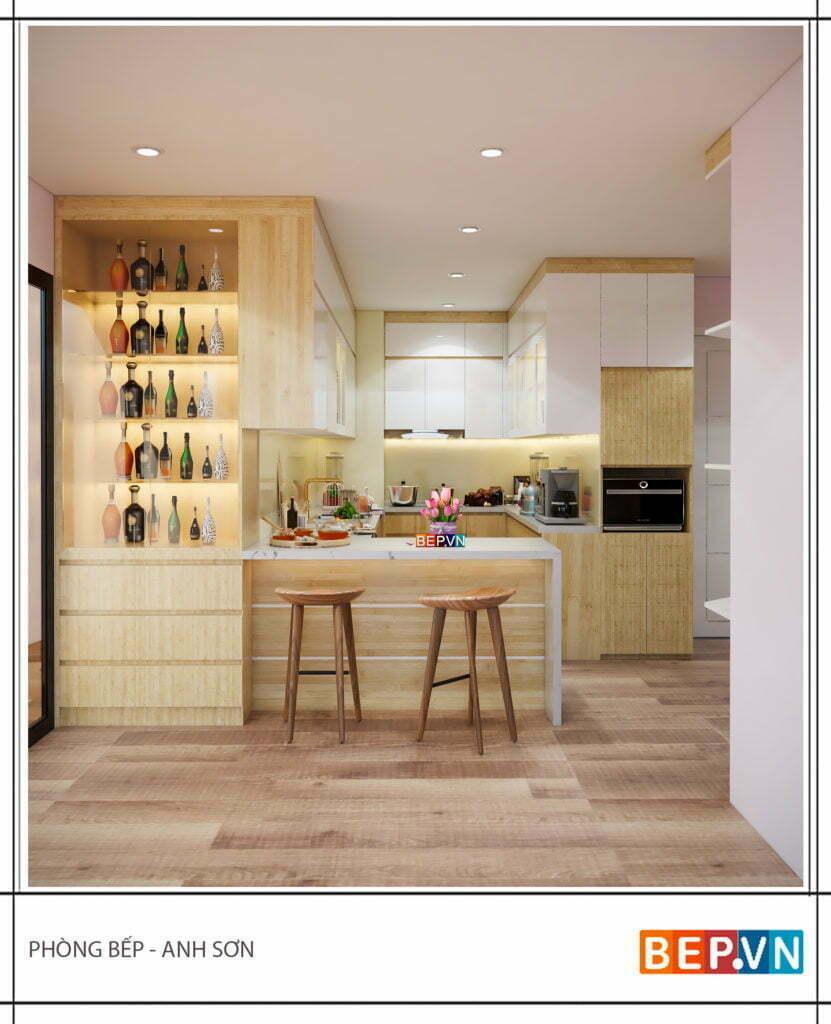 Tủ bếp chữ G của phòng bếp anh Sơn