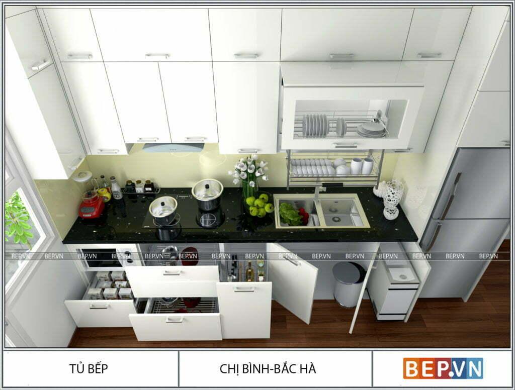 Tủ bếp nhỏ với đầy đủ công năng vô cùng hiện đại, tiện nghi