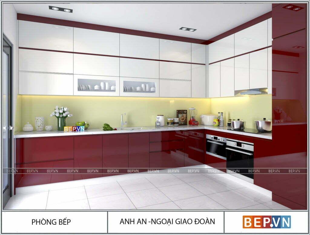 Tủ bếp chữ L được lựa chọn màu sắc theo phong thủy nhà bếp