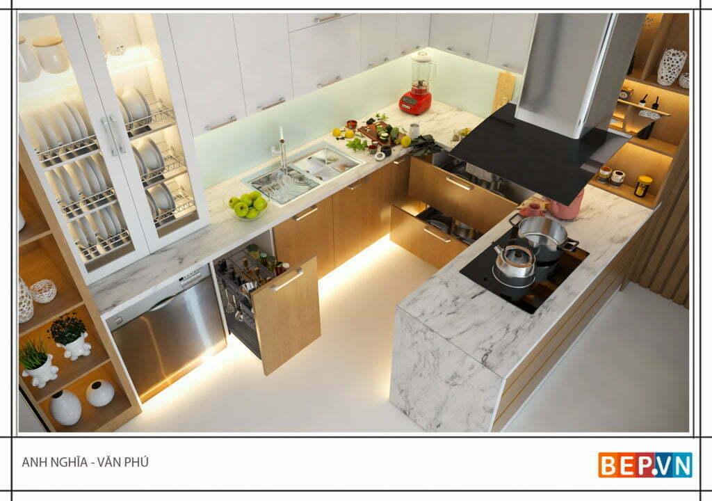 Tủ bếp chữ u có đảo bếp là một cạnh của tủ bếp anh Nghĩa