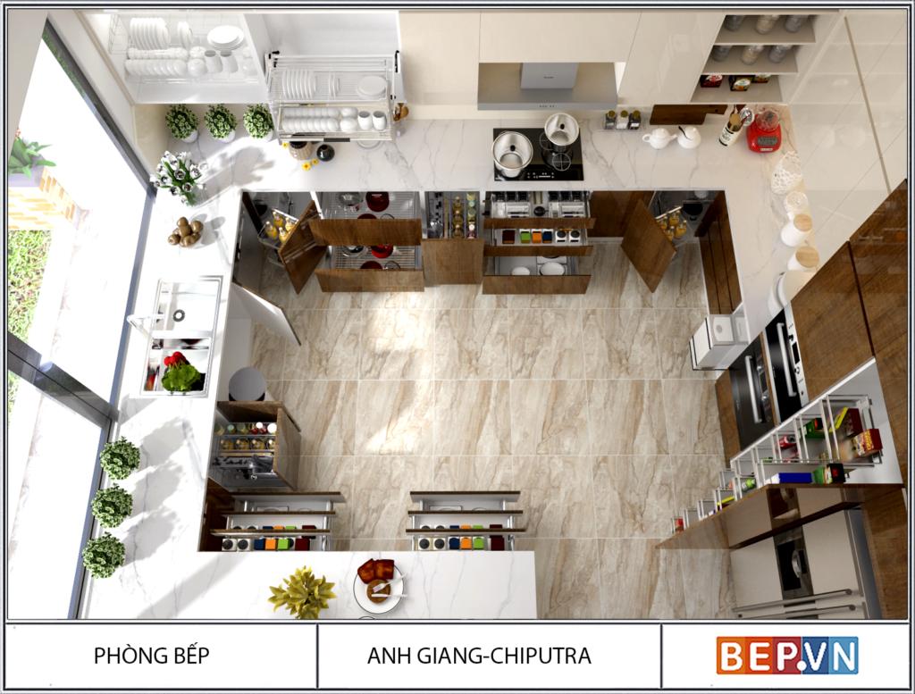 Tủ bếp chữ G cho phòng bếp rộng rãi gia đình anh Giang